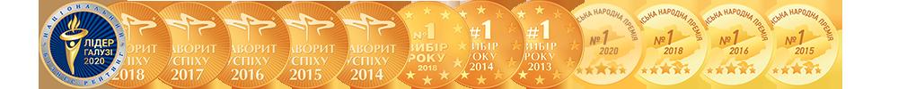Медали Pyramida и награды Pyramida, фаворит успеха, выбор года, лидер отрасли, украинская народная премия